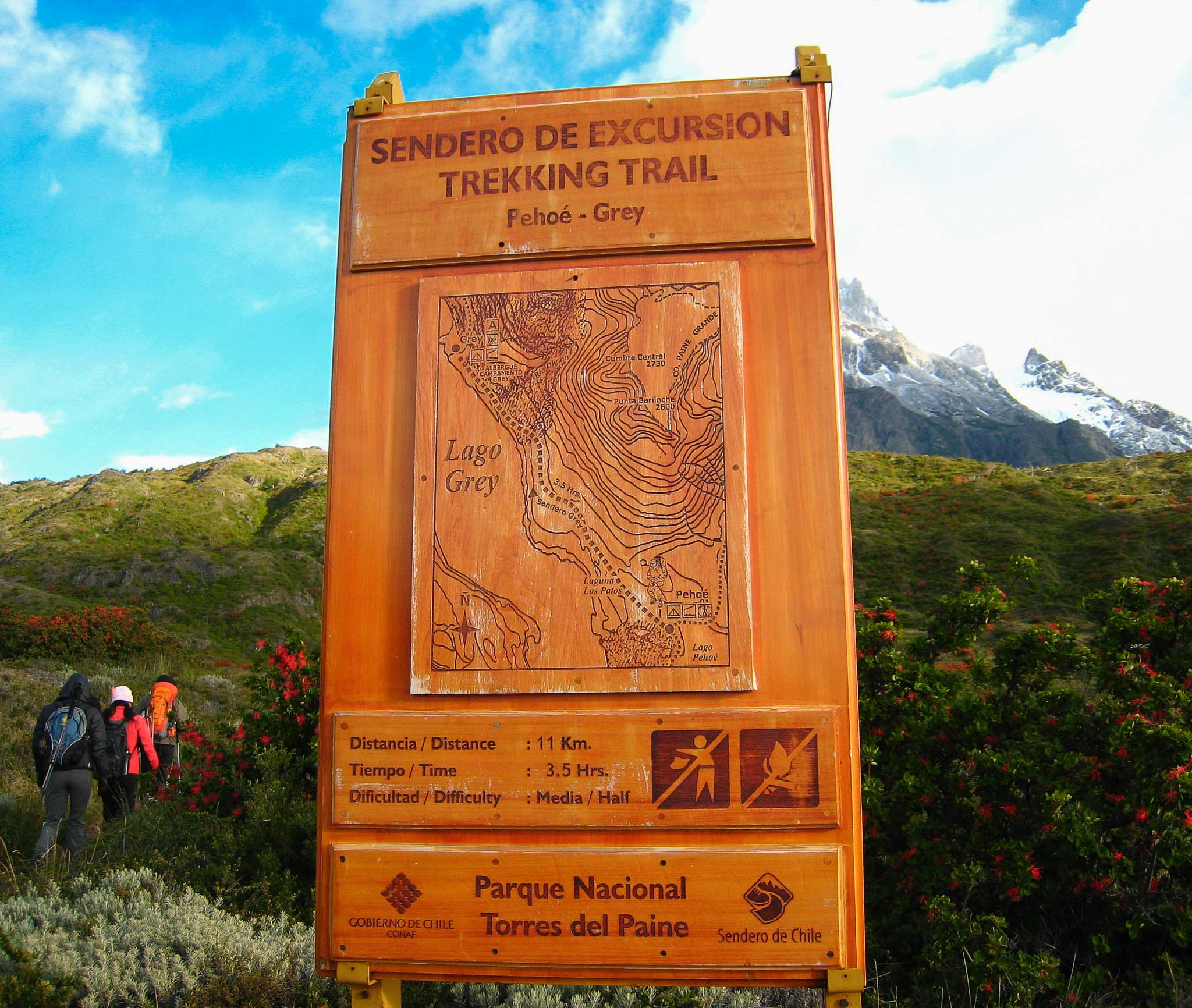 Sign Grey Glacier Hike Patagonia Chile