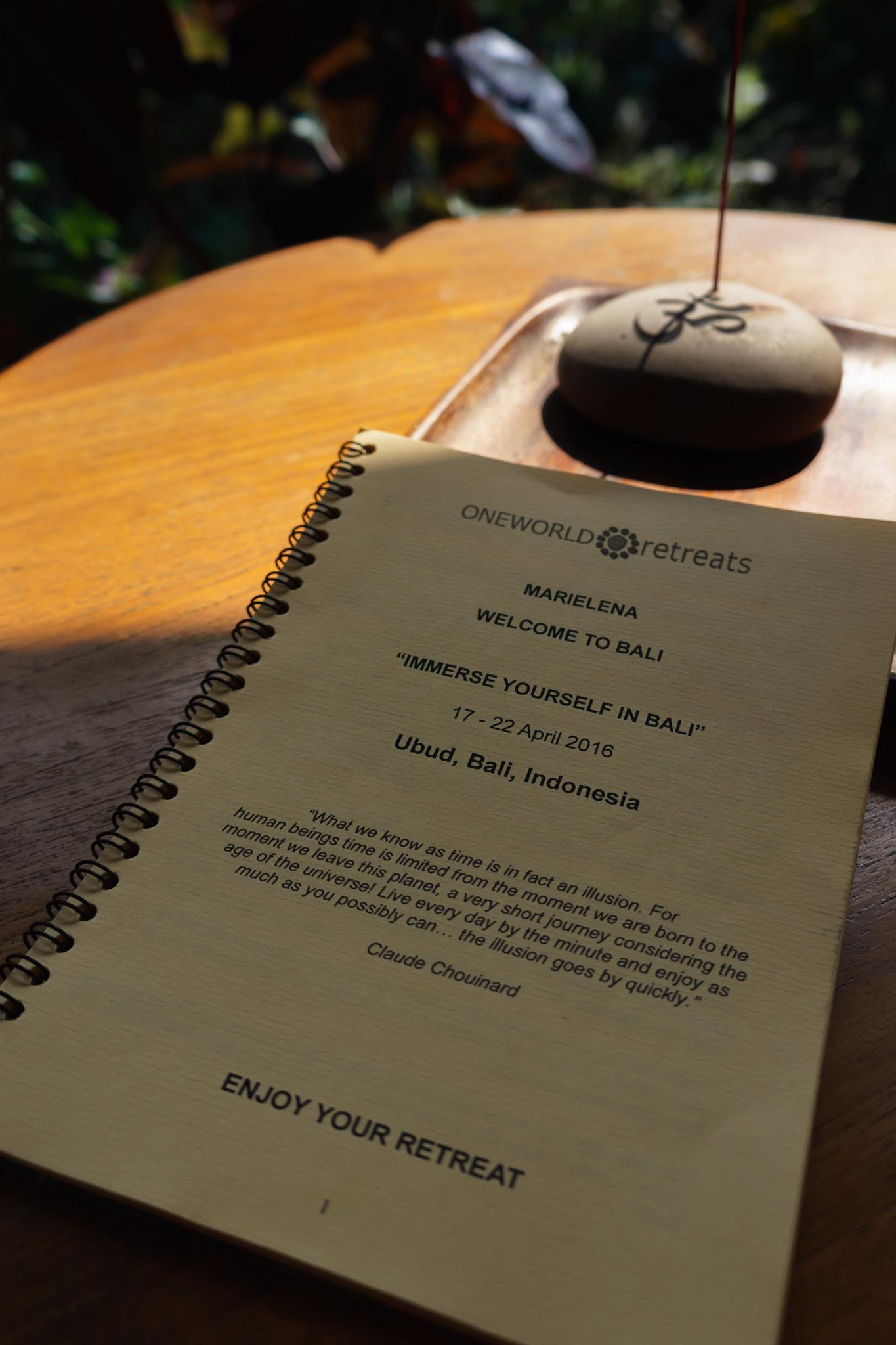 Welcome Booklet Spiritual Retreat Ubud Bali