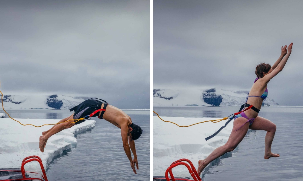 25 Surprising Things to Do Antarctica - Polar Plunge Jason Marielena