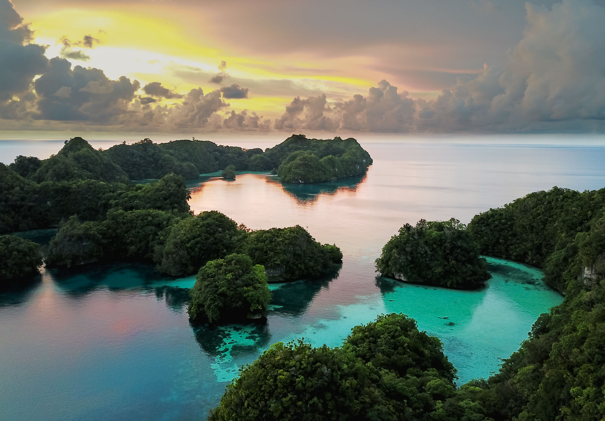 Palau Rock Islands Aerial View at sunset