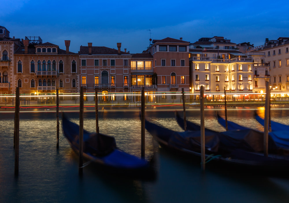 Photography Tips Venice Italy Light Trails and Gondolas Blue Hour