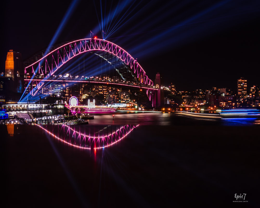 Vivid Sydney Cahill Expressway Bridge Reflection