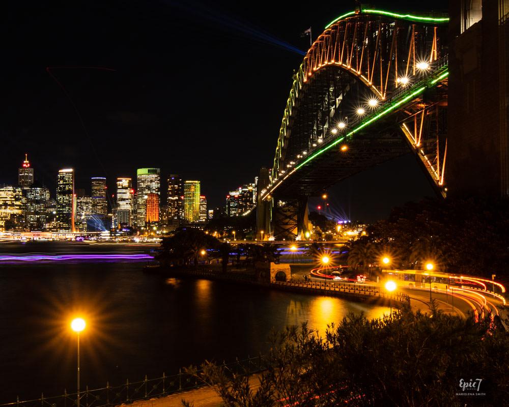 Vivid Sydney Kirribilli Harbor Bridge Light Trails