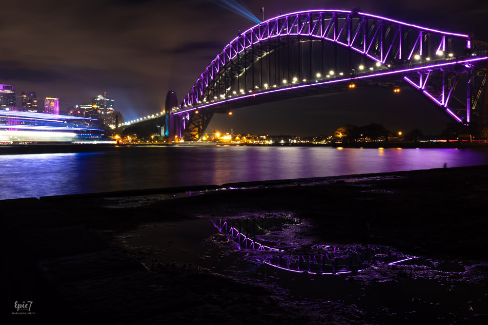 Vivid Sydney Kirribilli Harbor Bridge Reflection