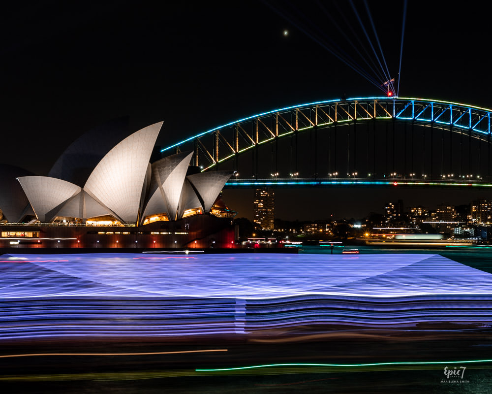 Vivid Sydney Mrs Macquaries Chair Long Exposure Opera House