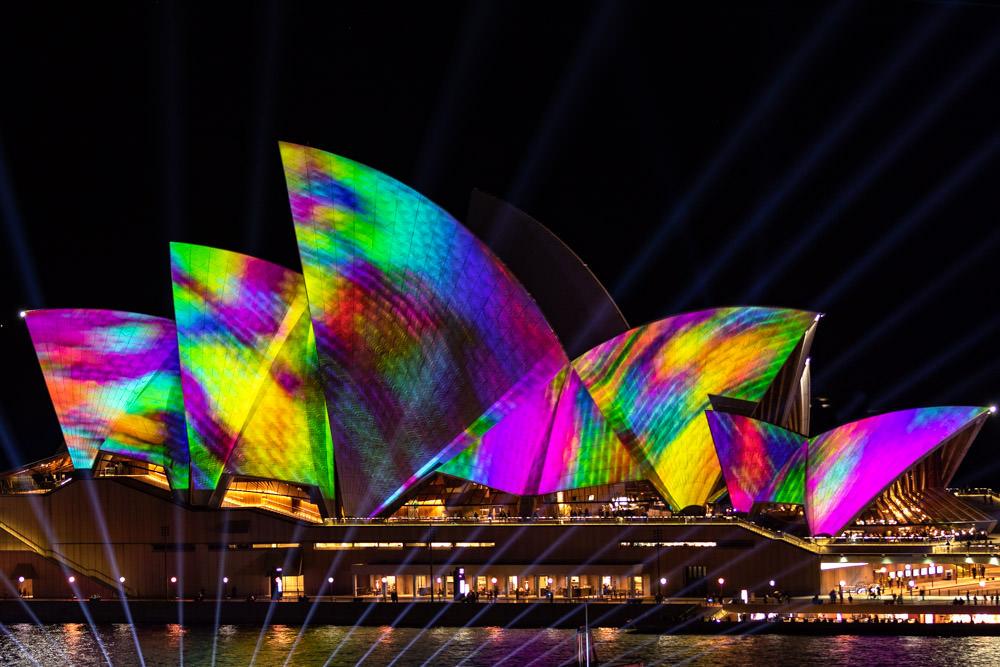 Vivid Sydney Opera House Watercolor Close-up