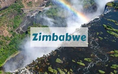 Rainbow over Victoria Falls Zimbabwe