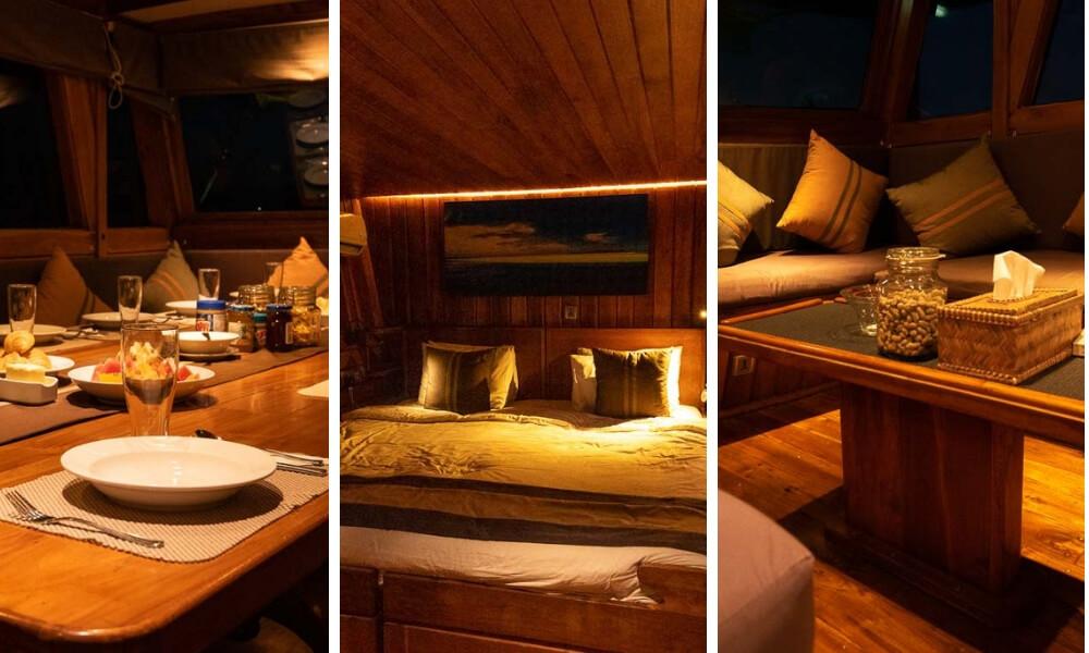damai liveaboard dining area, cabin, lounge area