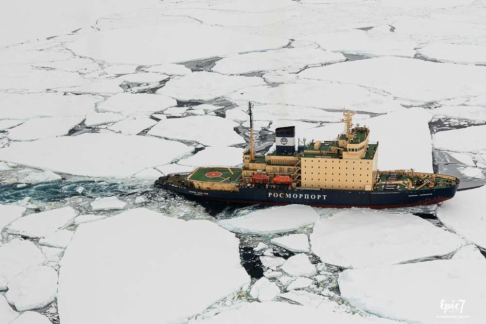 Aerial View Kapitan Khelbnikov Breaking Through Ice