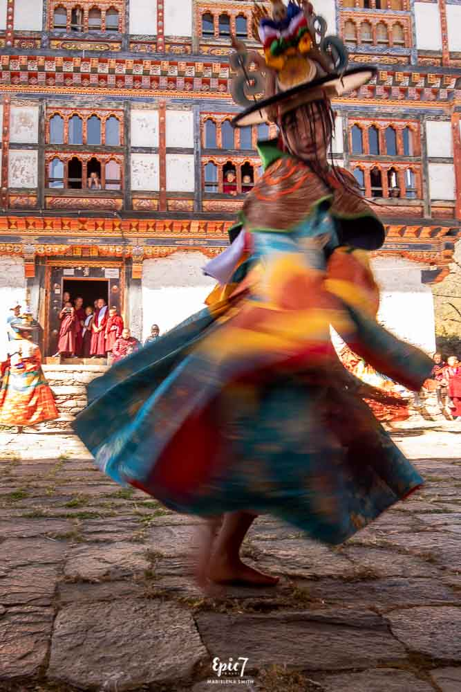 Dancer spinning at festival in Bhutan