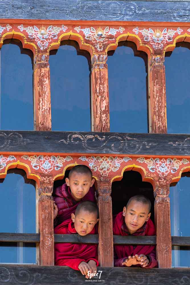 Young monks at Bhutan festival