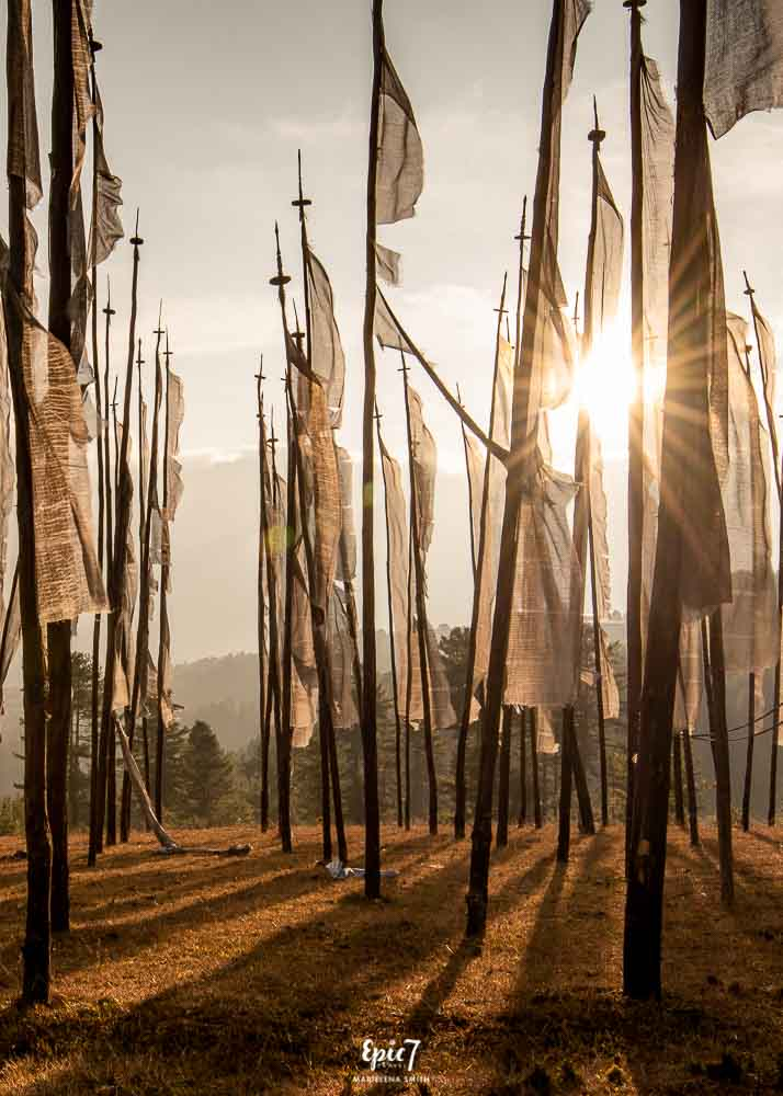 Vertical white Prayer flags Bhutan Mandhar