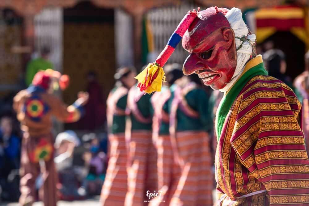 Masked dancer Bhutan festival