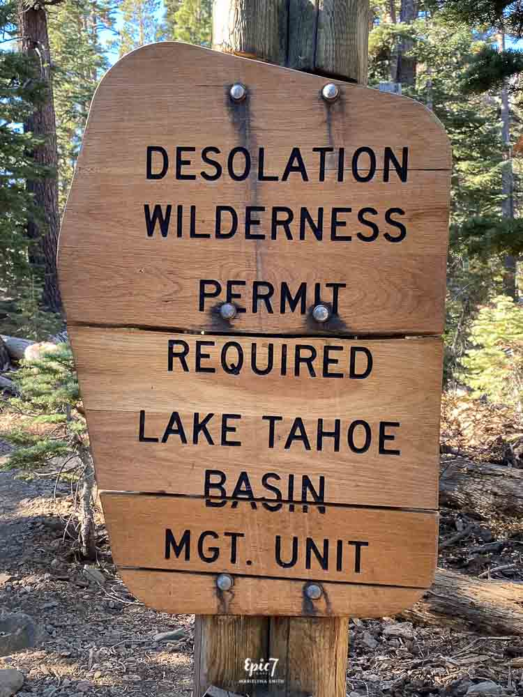 Mt Tallac Hike-Desolation Wilderness Sign