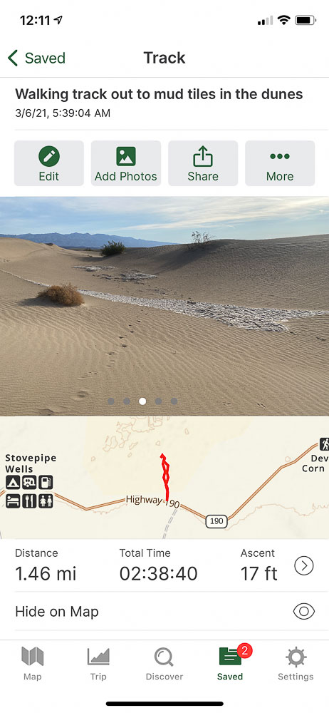 Death Valley Road Trip Gaia App