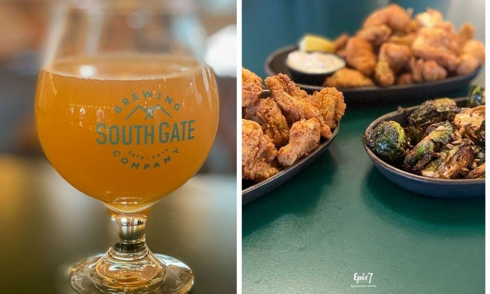 Oakhurst Restaurants South Gate Brewing Company Sour Gate Mimosa Fried Pickles Brussel Sprouts and Artichoke Hearts