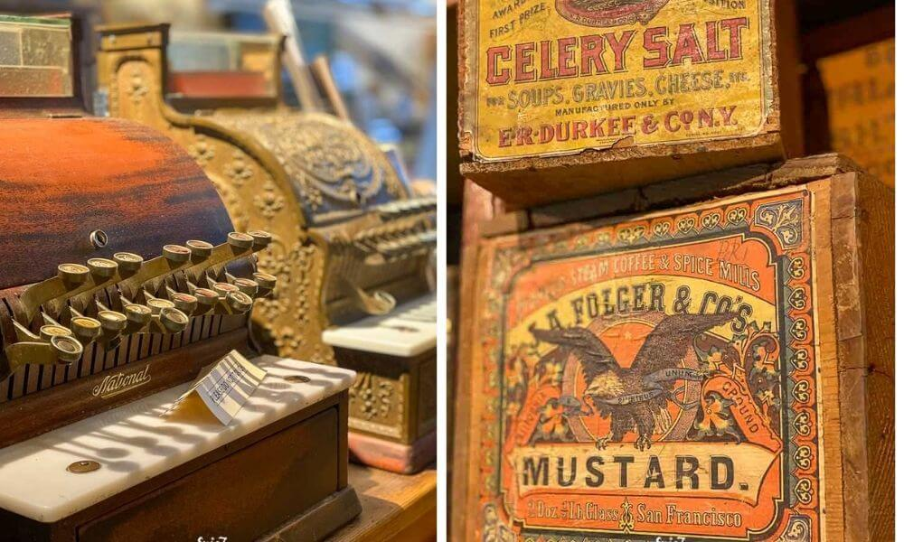 Old cash register and wooden food containers at the Mariposa Museum