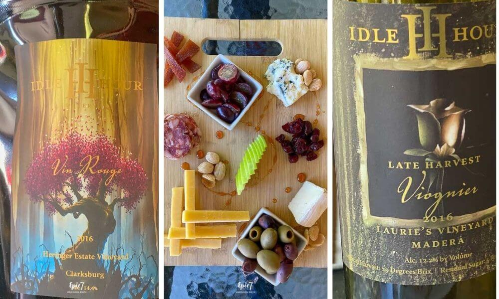 Things to Do in Oakhurst California Idle Hour Winery Wine and Cheese Plate