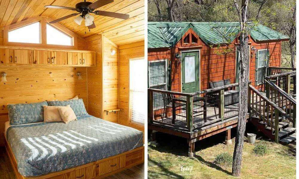 Where to Stay in Oakhurst California Queens Inn Cabin Interior and Exterior