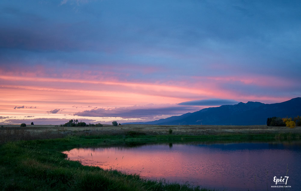 Ninepipe Wildlife Refuge Sunset Reflection in Wetlands Montana