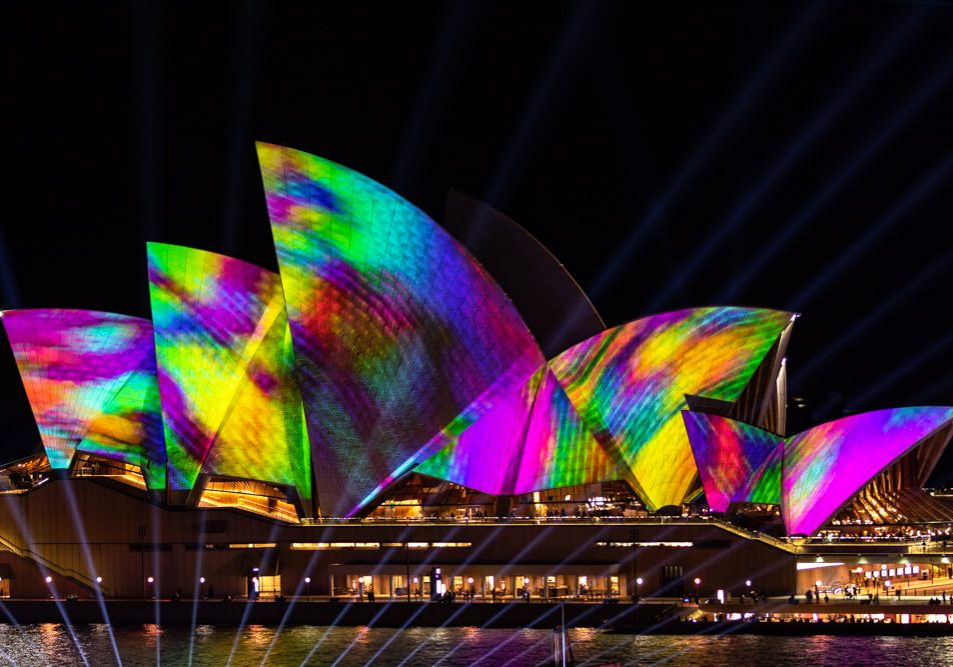 Vivid Sydney Opera House Watercolor Close-up